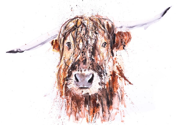 """Highland Cow Painting Watercolor Painting  """"Boris"""" Wall Art Signed Limited Edition Print of my Original Highland Cattle Watercolour Painting"""