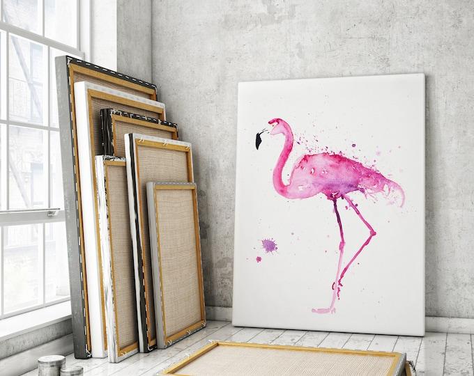 Flamingo Canvas print - Hand Signed by Syman Kaye Living Room Art Flamingo Watercolour Painting of my Original Abstract Flamingo Painting