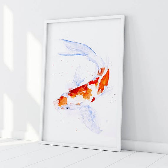 Koi Watercolor Painting Watercolour Hand Signed Dated Numbered and Embossed Limited Edition Print Koi Painting Koi Watercolor Wall Art