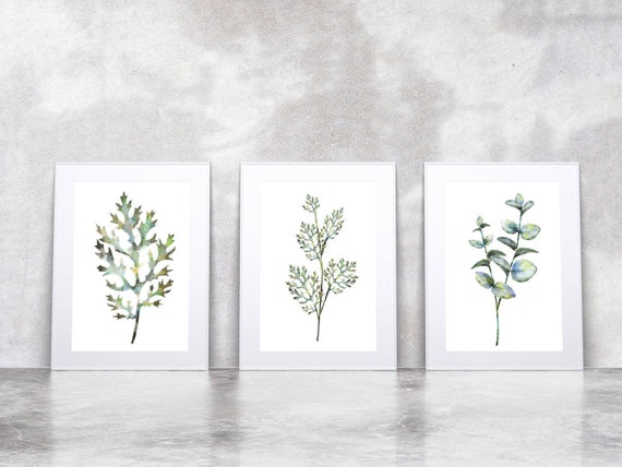 3 Botanical Leaf Prints on Watercolour Paper - Art Prints of Leaf Paintings