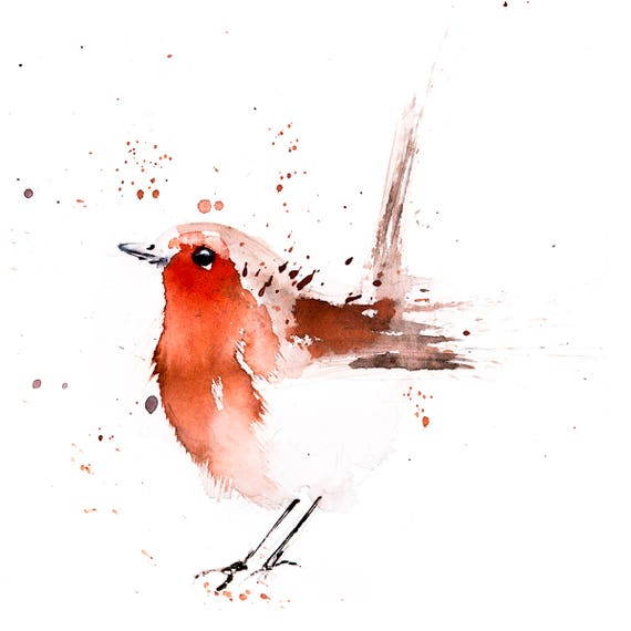 Fat Robin Red Breast No.2 - Hand Signed limited edition Print of my Original Watercolour Painting of a Robin -  Birds Wall Art Nursery Art