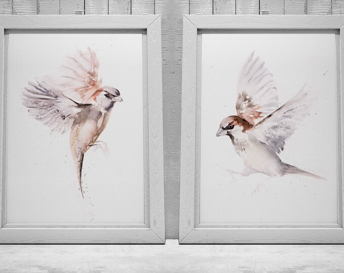 Pair of Sparrow Paintings - Sparrow Wall Art Hand Signed Numbered Embossed Limited Edition Prints of my Watercolour Paintings of Sparrows