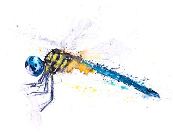 Dragonfly Watercolor Painting Watercolour - Signed limited edition print of my original Watercolor painting Dragonfly Art, Living room Art