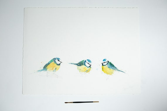 "Original Watercolour Paintingof Three Blue Tits ""Blue Tits in a Row"" by Syman Kaye"