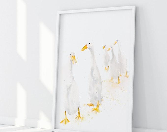 Runner Ducks Standing - Wall Art Signed Print of the Original Watercolour Painting of Runner Ducks