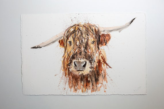 "Highland Cow Original Painting Watercolor Painting  ""Boris""  Original Wall Art Highland Cattle Watercolour Painting by Syman Kaye"