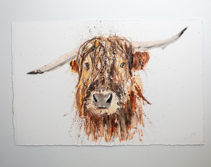 """Highland Cow Original Painting Watercolor Painting  """"Boris""""  Original Wall Art Highland Cattle Watercolour Painting by Syman Kaye"""