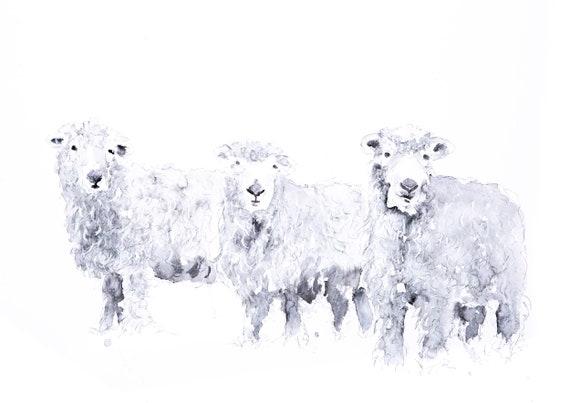 Grey Faced Dartmoor Sheep Watercolour Painting Watercolour Wall Art - Signed Limited Edition Print of my Original Watercolor Painting Sheep