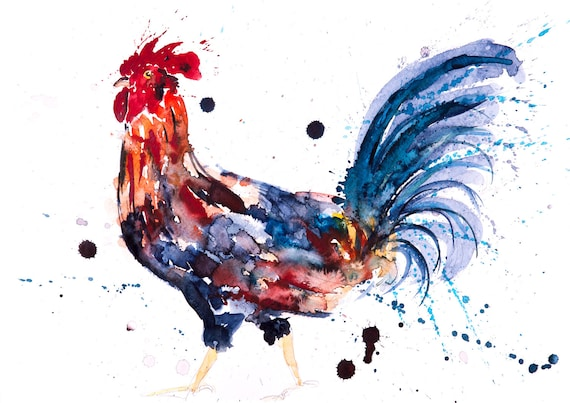 Cockerel No.1 - Signed Print from my original watercolour painting