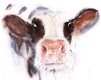 Street Art Cow Graffiti Style Spray Painted brown & white Cow Wall Art Cow Spray Painted Abstract Hand Signed Limited Edition Print
