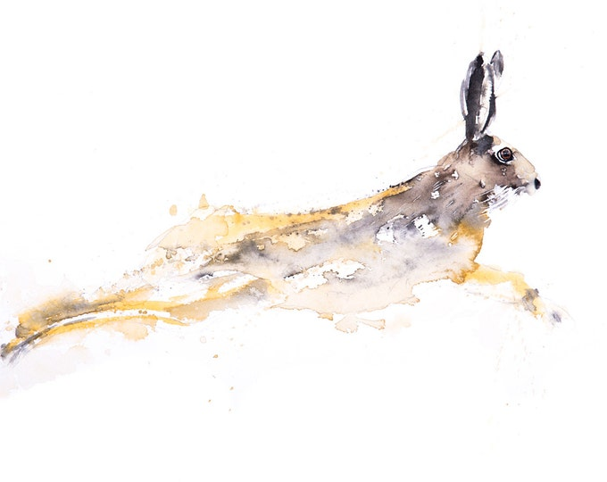 Chancer - Signed limited Edition Print of my Original Water Colour Painting of a Hare