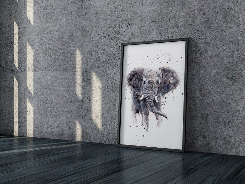 Elephant Painting  Elephant Watercolour  Hand Signed Dated image 0