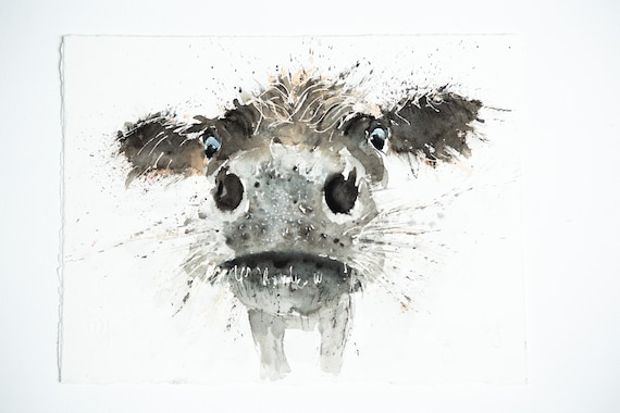 "Cow Original Painting Watercolor Painting  ""Boo""  Original Wall Art Highland Cattle Watercolour Painting by Syman Kaye"