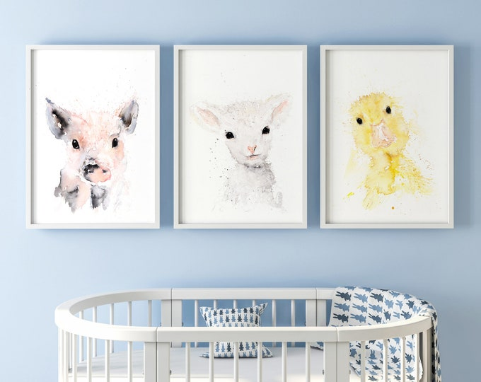 Baby Duckling Piglet Lamb Limited Edition Watercolour PrintS, Nursery Decor, Wall Art, Watercolour Paintings Cute Print