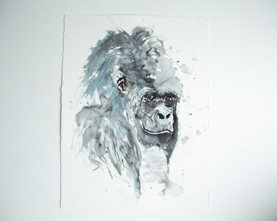 "Gorilla Painting - Original Watercolour Painting of Ape - Watercolour Painting  ""Gorilla No1""  Original Watercolour Painting by Syman Kaye"