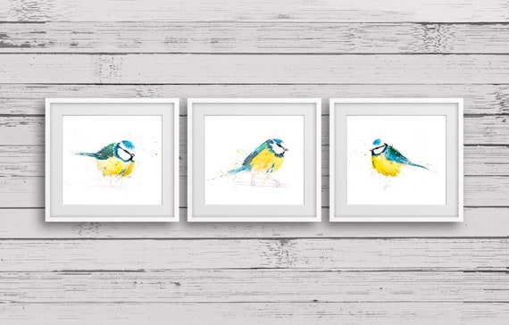 Blue Tit Trip Print Wall Art Watercolour Painting Bird Abstract Modern Water Colour Painting Home Decor Limited Edition Blue Tit Birds Gift