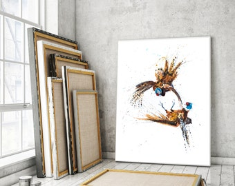 Pheasant Canvas print - Hand signed Abstract Canvas Print of original Watercolour Painting Watercolor Painting of 2 Pheasants