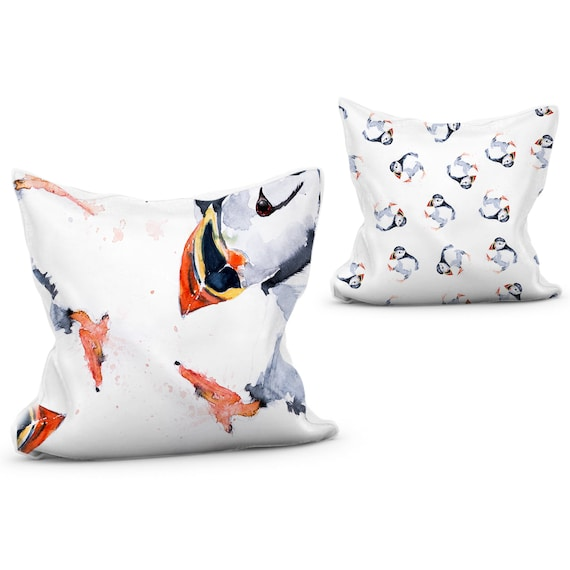 Puffin Cushion Vibrant Animal Print Pillow with Double Sided Design  of Puffins