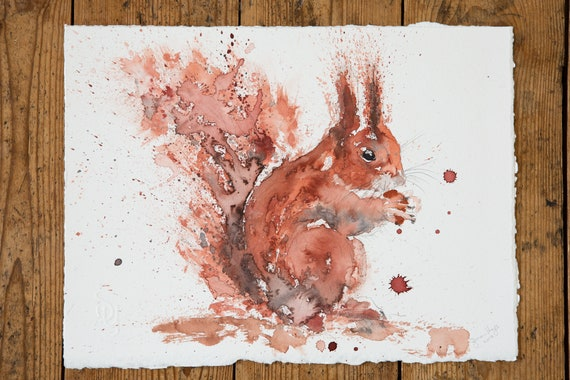 Squirrel Original Painting - Rusty Nuts Squirrel Watercolour Painting by Syman Kaye
