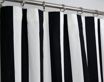 d88853e1f26 Two Black and White Striped Valance Curtains Super Cute and Funky! 100%  Heavy Weight Cotton 15