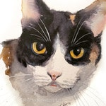 Custom Hand-painted Watercolor Calico Cat Portrait from Photo, Custom Pet Painting, Original Painting of your Pet, Custom Pet Portrait