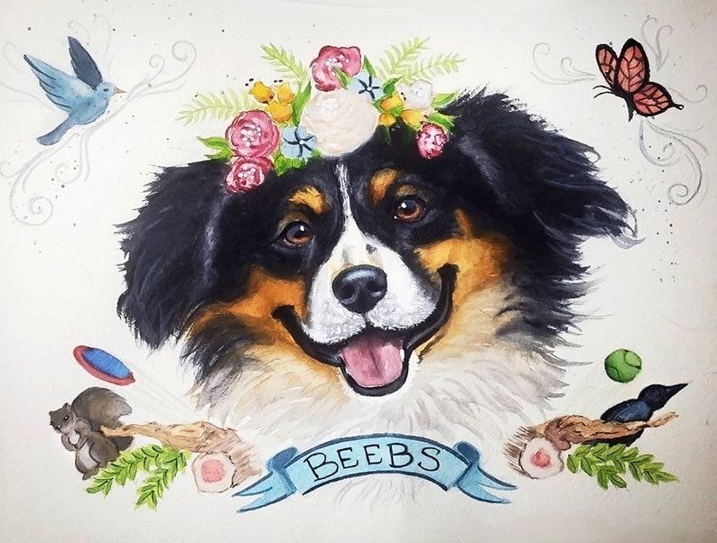 FAVORITE THINGS Pet Portrait Custom Dog Portrait Watercolor image 0
