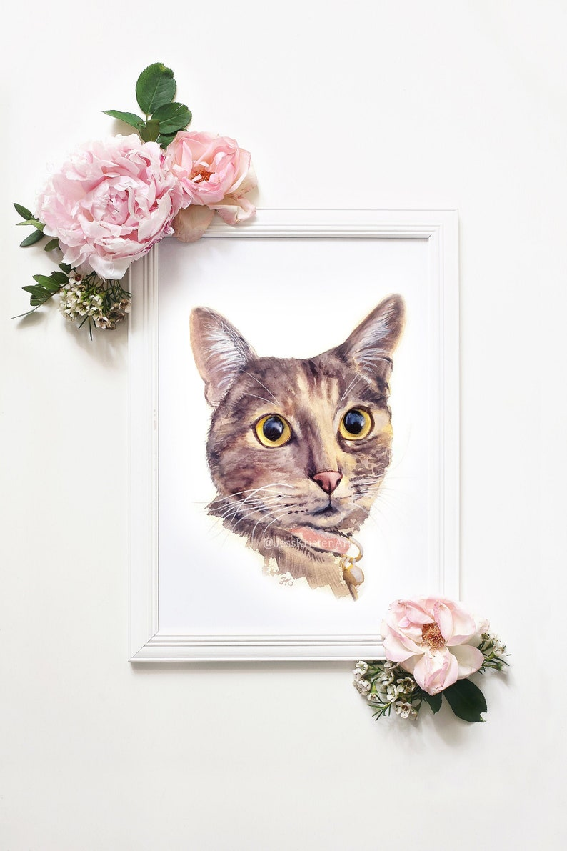 Pet Portrait Custom Cat Portrait Watercolor Pet Portrait Cat image 0