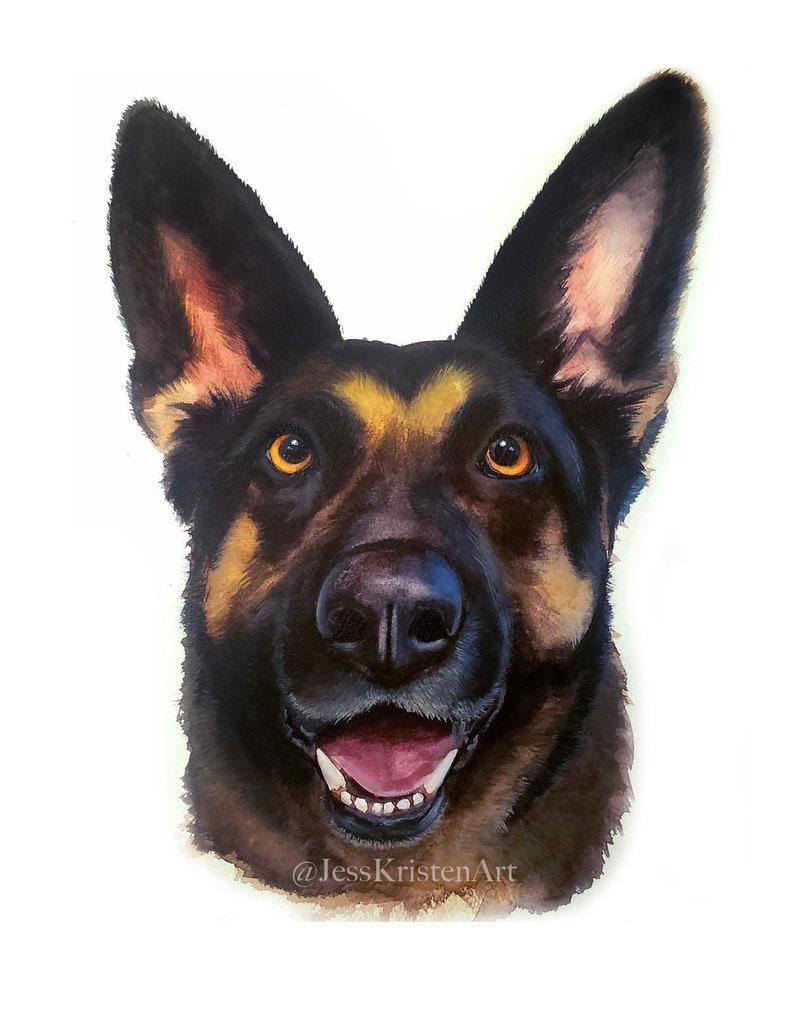 Custom Hand-painted Watercolor German Shepherd Portrait from image 0