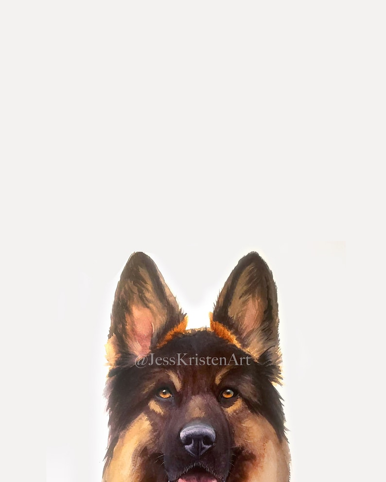 Custom PEAKABOO German Shepherd Pet Portrait Dog Portrait Pet image 0