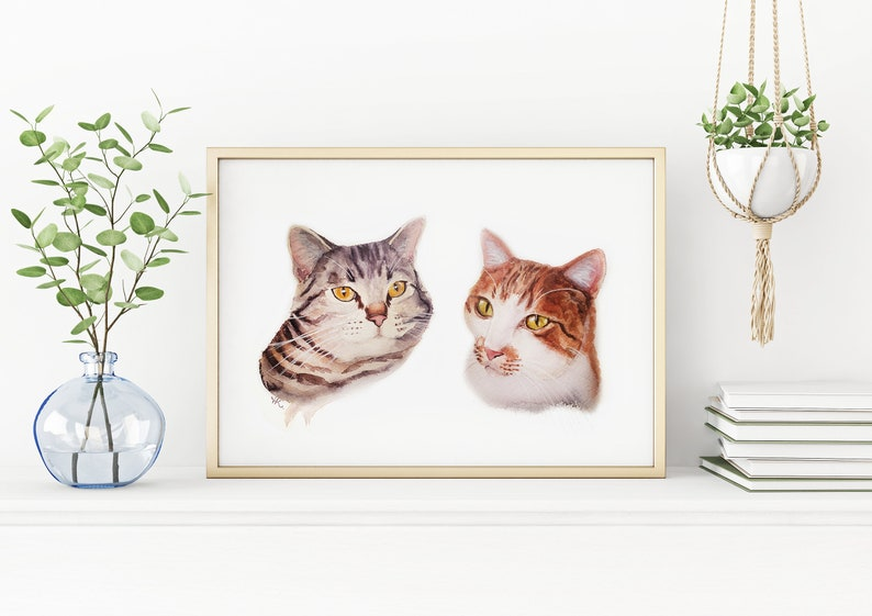 MULTI Cat Portrait Custom TWO Pet Painting Custom Pet Portrait image 0
