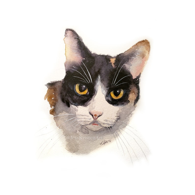 Custom Hand-painted Watercolor Calico Cat Portrait from Photo image 0
