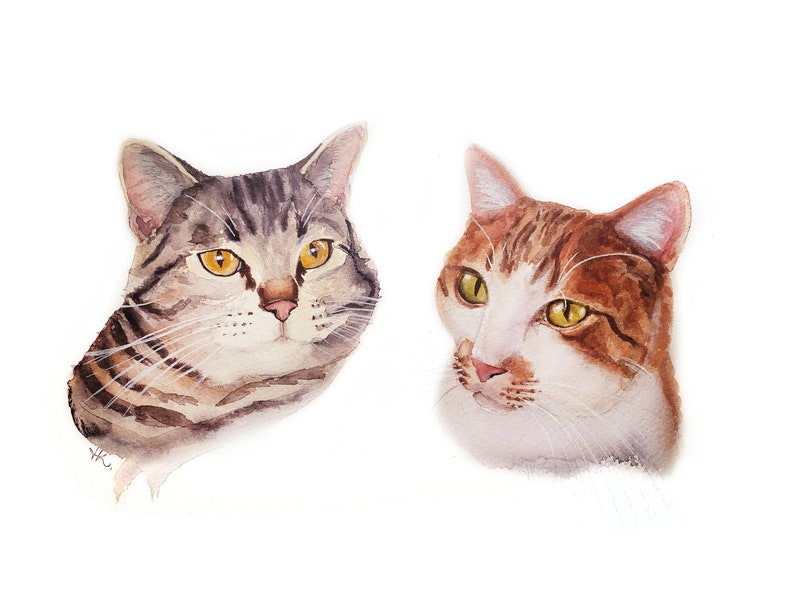 Custom Hand-painted Watercolor Cat Portrait from Photo Custom image 0