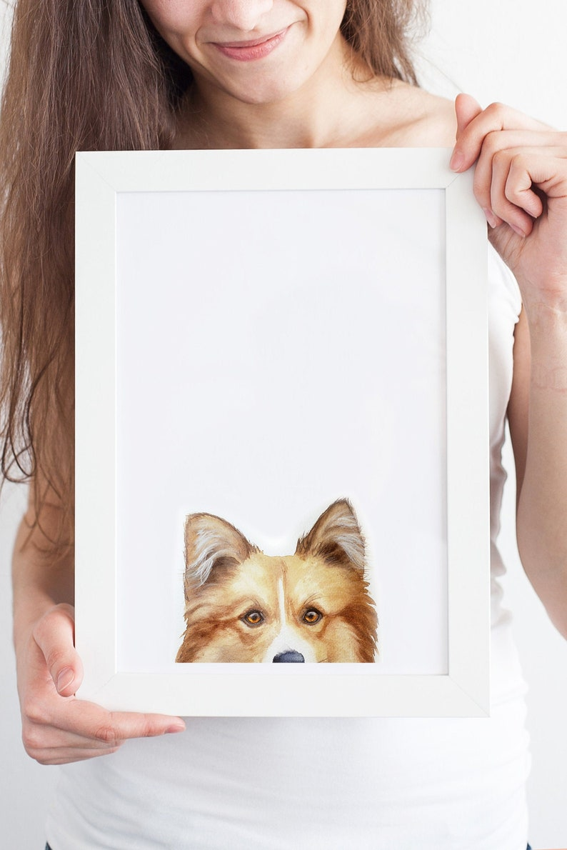 Dog Portrait PEEKABOO Custom Dog Painting Pet Portrait Custom image 0