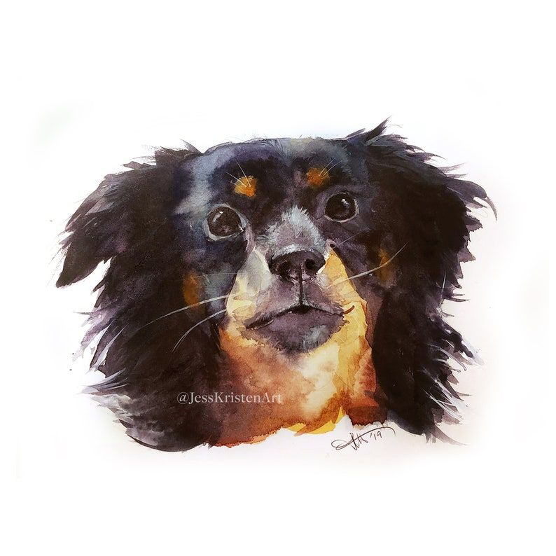 Custom Hand-painted Watercolor Puppy Portrait from Photo image 0