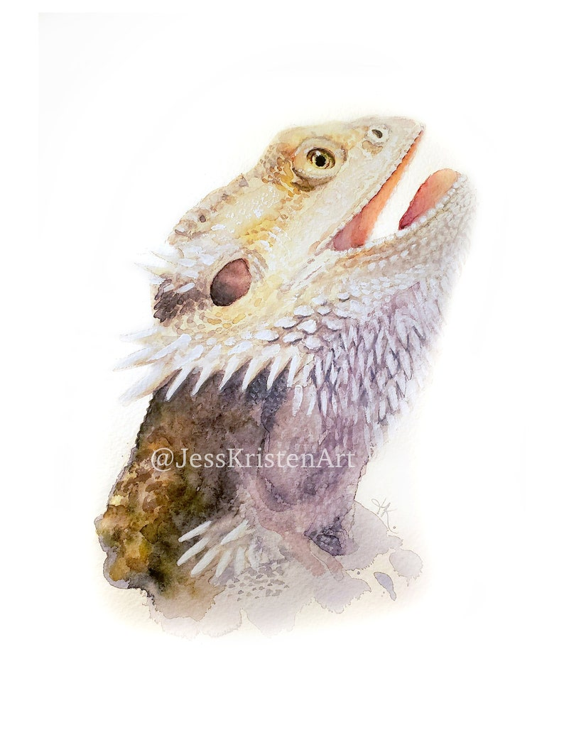 Custom Hand-painted Watercolor Bearded Dragon Portrait from image 0