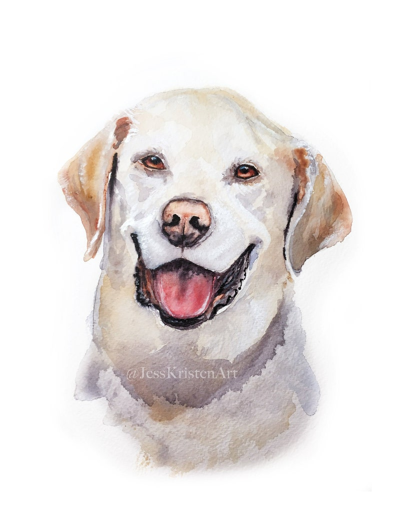 Custom Hand-painted Watercolor Labrador Dog Portrait from image 0