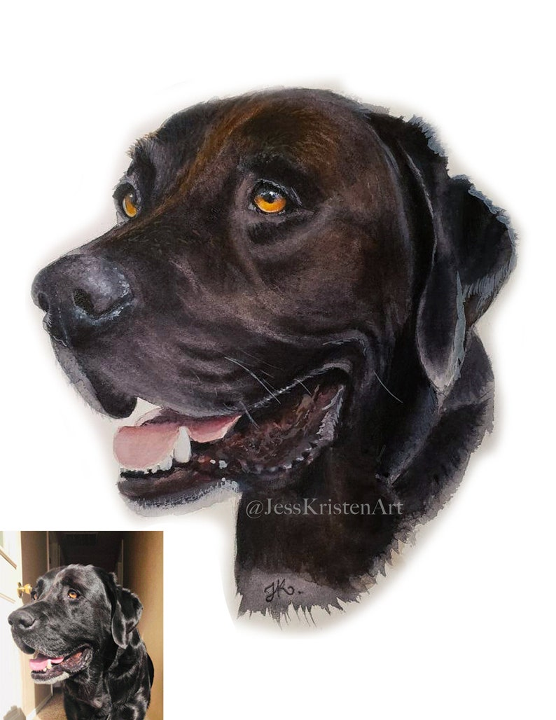 Custom Hand-painted Watercolor Rescue Dog Portrait from Photo image 0