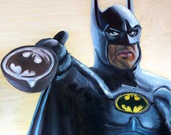 It's What I Do That Defines Me | Archival Print Portrait of Batman Serving A Latte by Jess Kristen