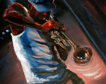Curbside Serenade | Oil Painting Jazz Musician Trumpet Player Dave Williams Long Beach