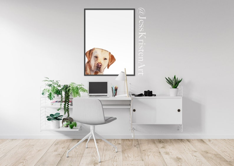 Custom PEAKABOO Pet Portrait Dog Portrait Pet Painting image 0