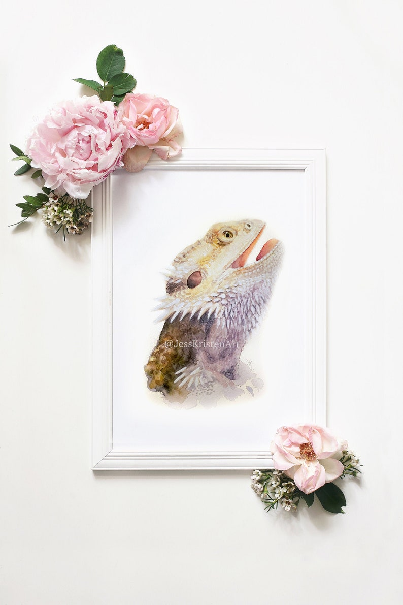Pet Portrait Custom Bearded Dragon Portrait Watercolor Pet image 0