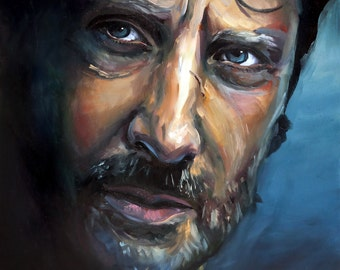 Blue Rick | Archival Print Portrait of Andrew Lincoln from Walking Dead by Jess Kristen