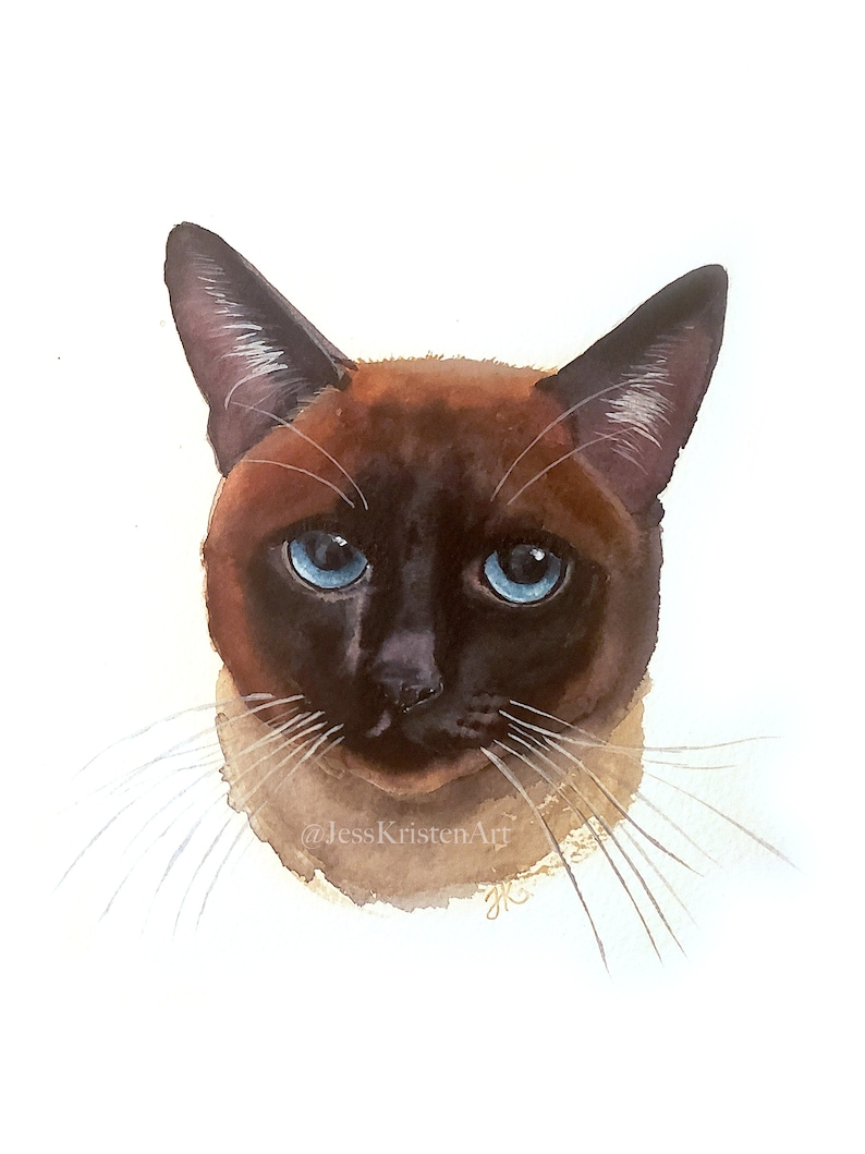 Custom Hand-painted Watercolor Siamese Cat Portrait from image 0