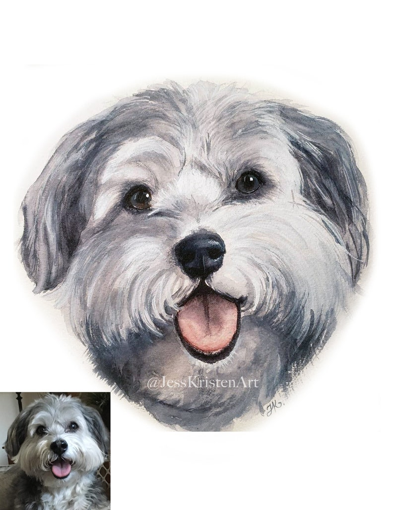Custom Hand-painted Watercolor Lhaso Apso Dog Portrait from image 0