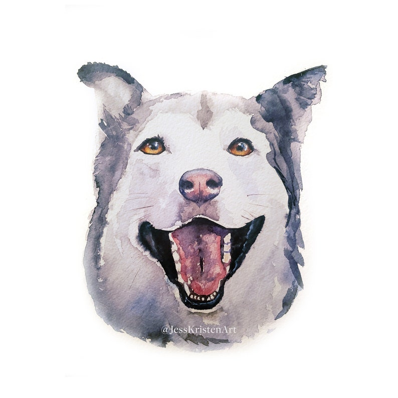 Custom Hand-painted Watercolor Husky Dog Portrait from Photo image 0