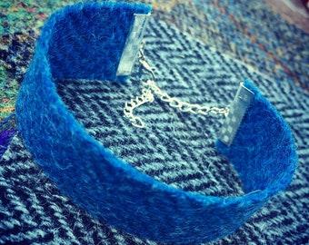 Blue Herringbone Harris Tweed Cuff