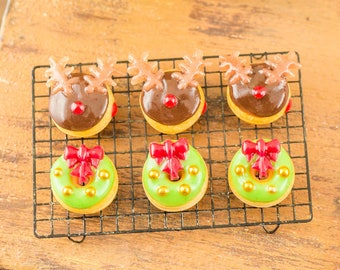 Made to Order Christmas Doughnuts - Reindeer and Wreaths - Half Dozen - 1:12 Dollhouse Miniature