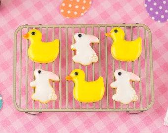 Miniature Bunnies and Ducks Easter Cookies - Half Dozen - 1:12 Dollhouse Miniature