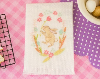 Made to Order Floral Easter Bunny Tea Towel - Easter Kitchen Towel - 1:12 Dollhouse Miniature