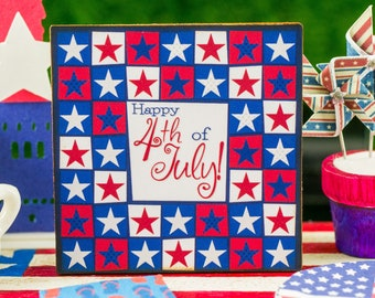 Miniature Happy 4th of July Quilted Stars Sign - 1:12 Dollhouse Miniature